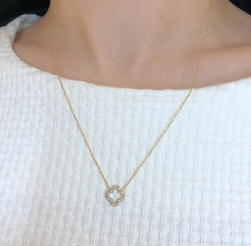 Open diamond clover necklace
