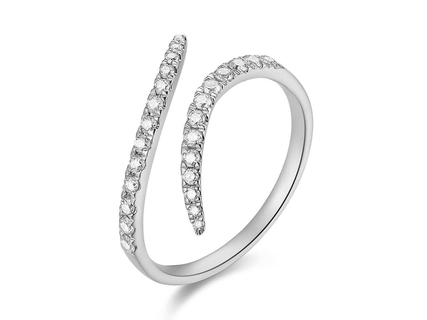 Diamond Swirl Cuff Ring
