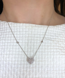 Diamond pave heart halo necklace