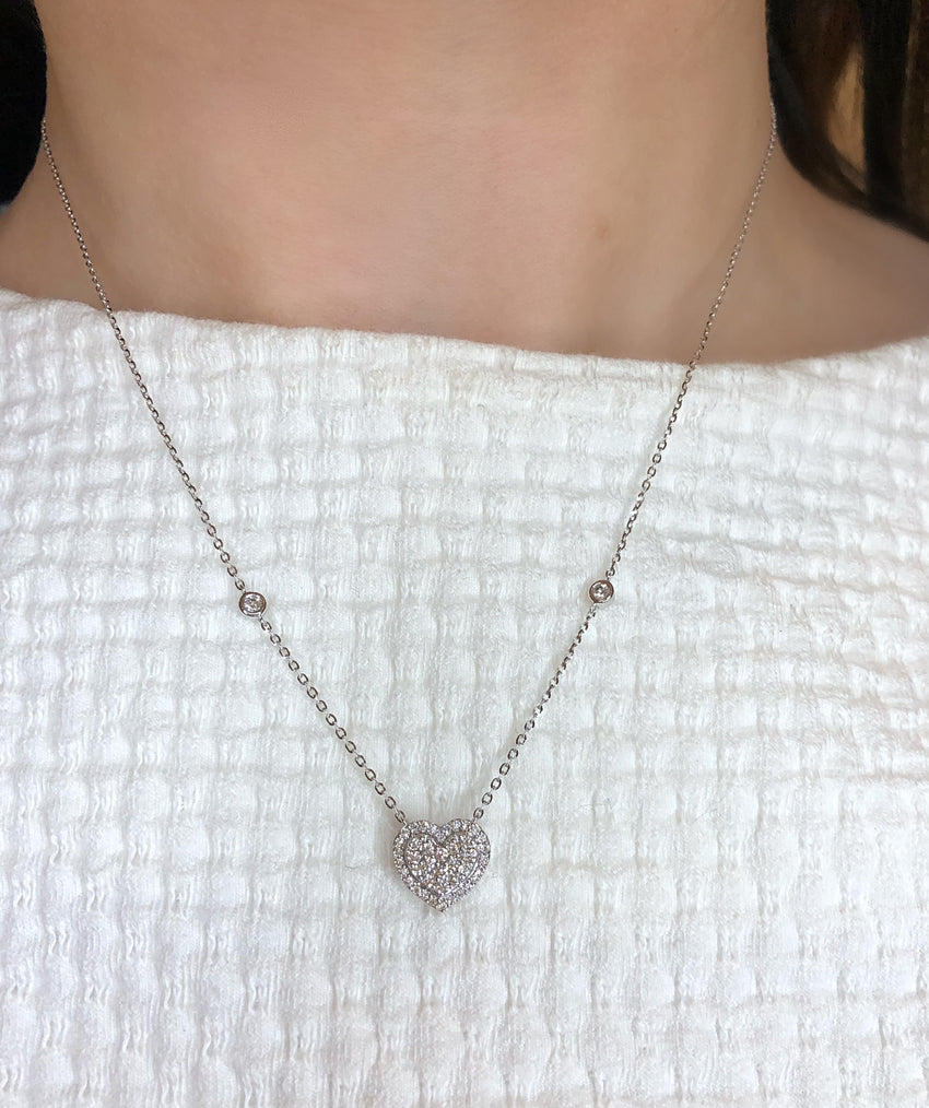 Pave diamond heart halo necklace