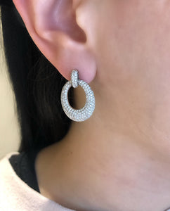 Pave oval domed earrings