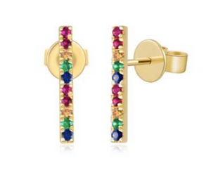 Rainbow Sapphire Bar Earrings