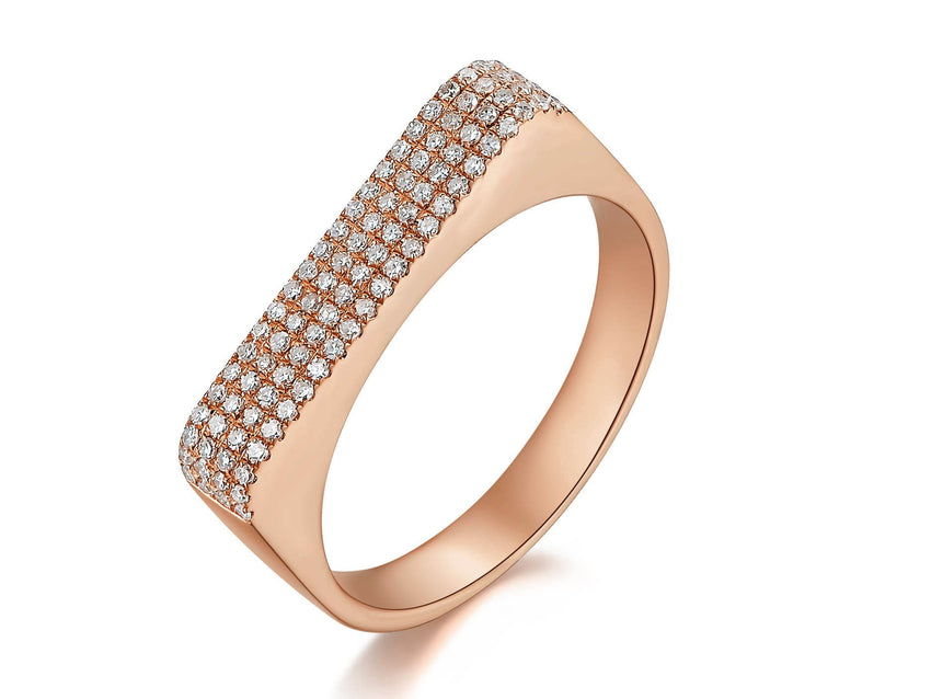 Wide Diamond Pave Bar Ring
