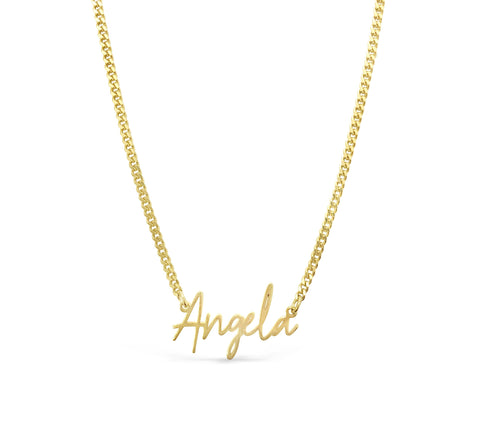 Sterling silver handwritten style name necklace