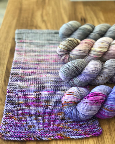 Peanut Butter and Jelly fade on La Bien Aimée Merino DK.