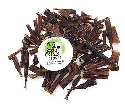 Sancho & Lola's Crunchy Steer Bully Bites for Dogs Made in USA - Boutique Rawhide-Free Grain-Free Small Beef Pizzle Dog Chews for Small Dogs or Training Treats for Any Size Dog