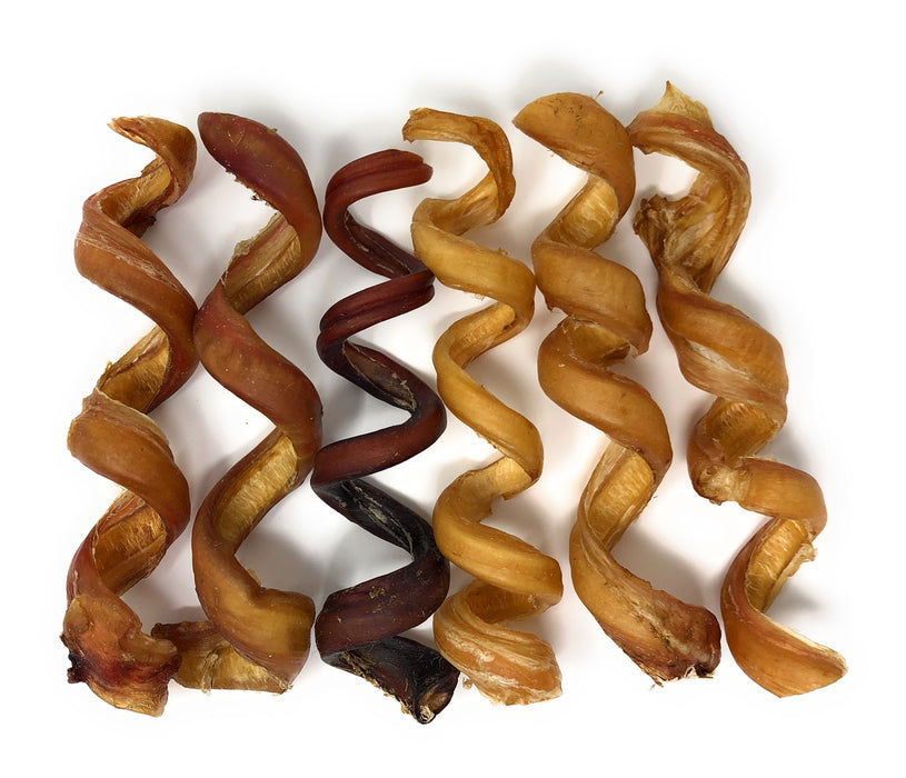 Bully Spring, Spirals, Curly Beef Pizzles - Gentle Rawhide-Free Chews-Buy Bulk & Save