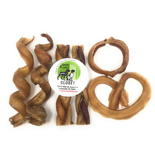 6-Piece Bully Stick Variety Fun Pack: Spirals, Braid, Hoop & Pretzel - Gentle Gourmet Beef Pizzle Beef Chews - Moderate Odor