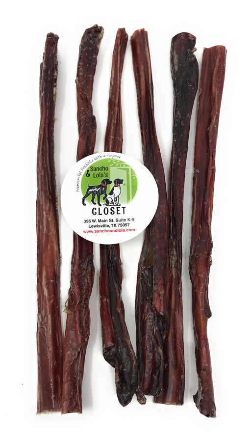 SALE!  12-Inch Crunchy Steer Sticks for Dogs - Nebraska Beef - Gentle Chew Beef Pizzle Bully Sticks