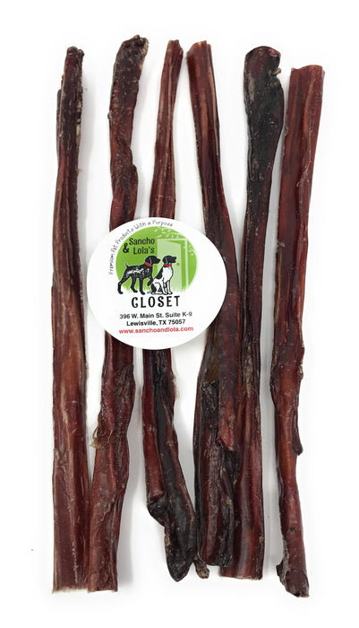 12-Inch Crunchy Steer Sticks for Dogs - 8oz (6-8 count) Nebraska Beef - Gentle Chew Beef Pizzle Bully Sticks