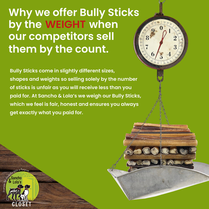 12-Inch Charcuterie Style Bully Sticks - No Odor-Farmed in the USA