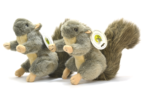 Realistic Plush Squirrel Dog Toys w/ Extra Squeakers - 2pk