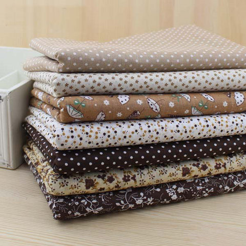 "7 Pieces Lot Patchwork Fabric (20"" X 20"")  Vintage Brown Collection"
