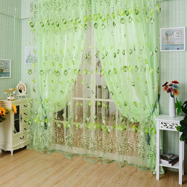 1*2M Shade Curtains Bedroom High Quality TulleTulips Pattern