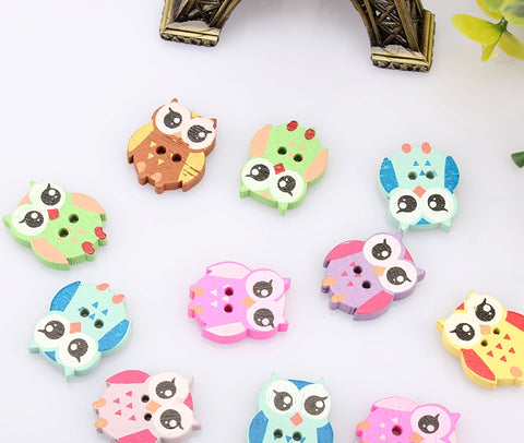 50Pcs Multicolor Wooden OWL Buttons