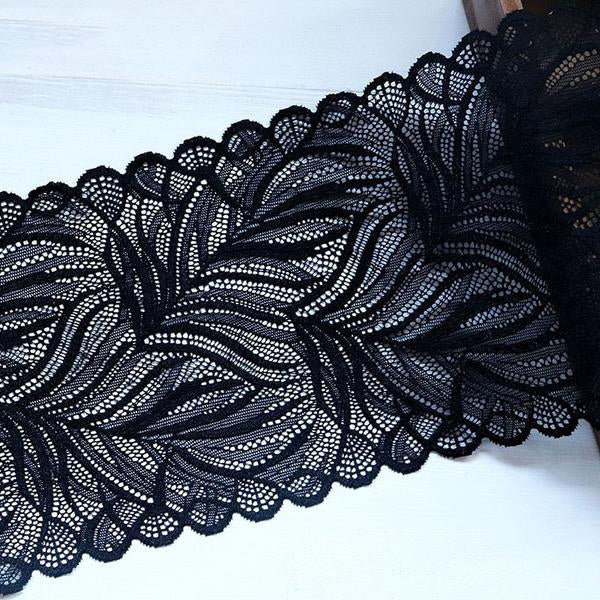 "1 Yard 6.5"" Width Leaves Elastic Stretch Lace Trims Black"