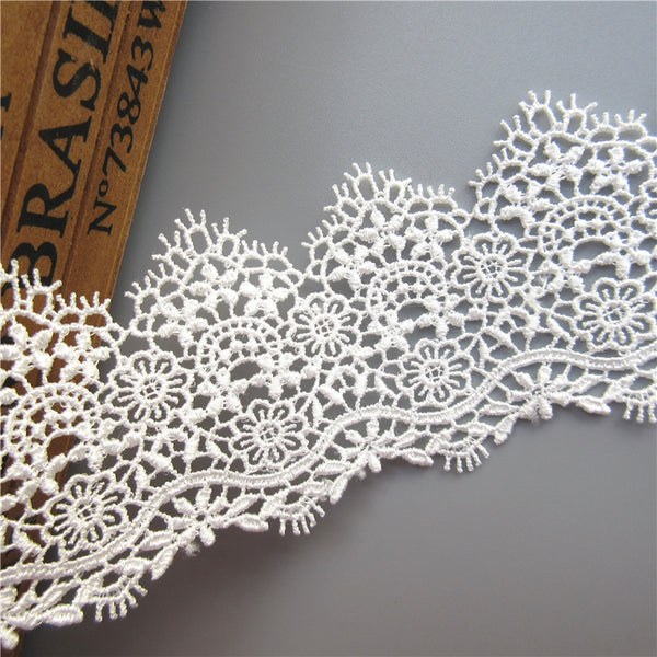 1 Yard White Embroidered Lace Edge Trim Ribbon