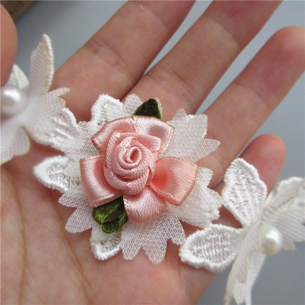 1 Yard White and Pink Pearl Rose Flower Embroidered Lace