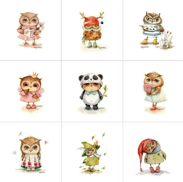 "1 piece  Handmade Fabric Canvas (6"" x 6"") Owl Cloth Animal"