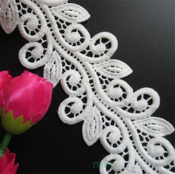 1 yard White Micro Fiber Flower Embroidered Fabric Lace