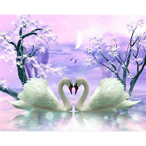 Full 5D Daimond Painting Couple Swan
