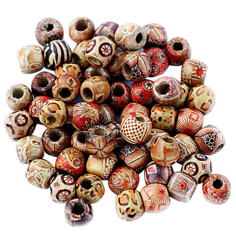 100 Pieces Vintage Wooden Beads Mixed Large Hole