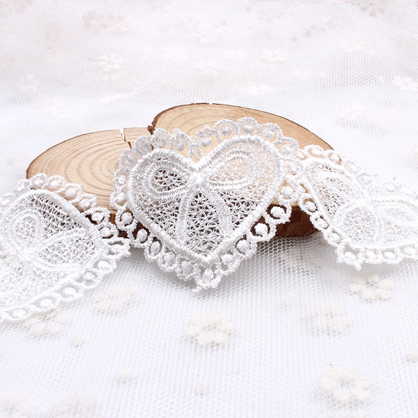 10pcs Lace Fabric Accessoy White Heart Lace