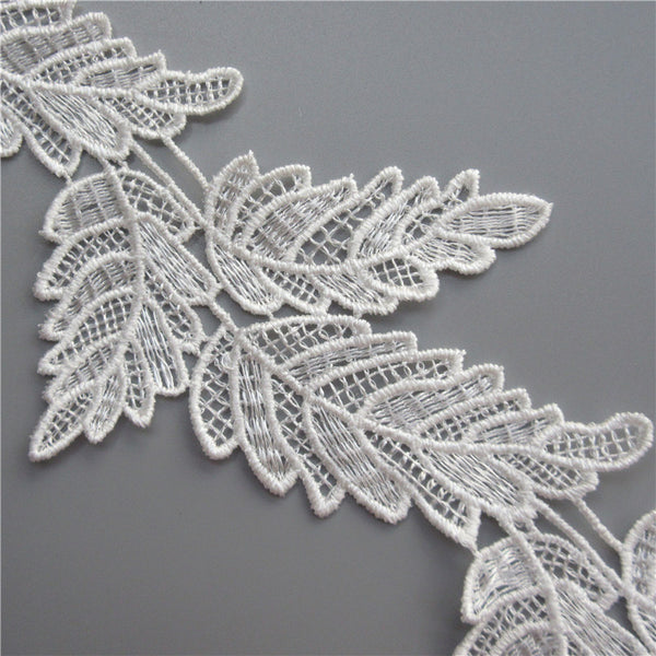 10x Soluble White Black Polyester Leaves Embroidered Lace