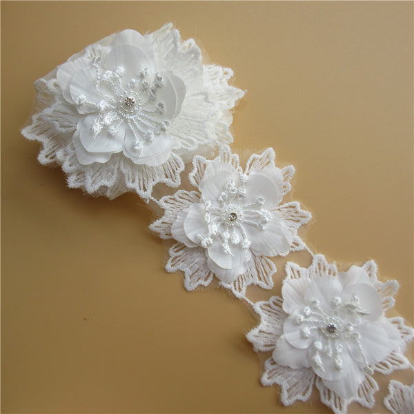 10x White Flower Crystal Multilaye Embroidered Fabric Lace
