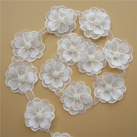 10x White Pearl Flower Handmade Beaded Embroidered Lace