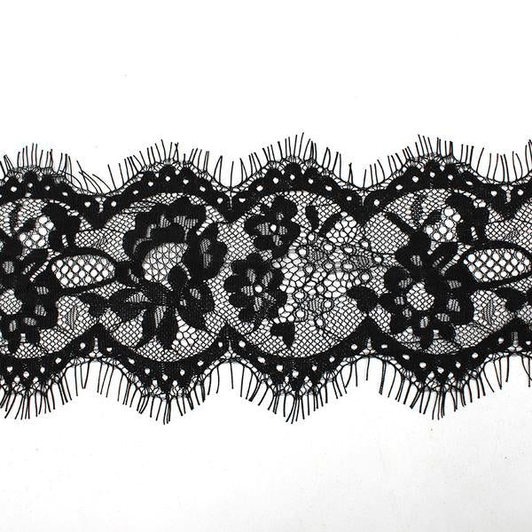 "4"" 3yards French Eyelash Lace Trims Embroidery Black Lace"