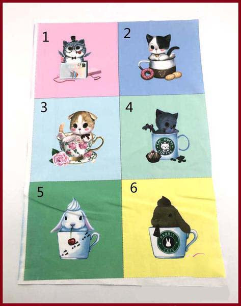"12 pieces Hand Dyeing Fabric (6"" x 6"") Cutie Cat Series"
