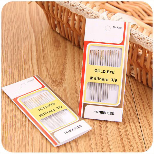 16 PCS Tail Gold Plated Stainless Steel Hand Sewing Needles