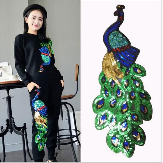 1 pc Large Sequins Peacock Embroidery Fabric