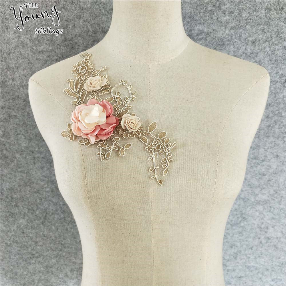 1pcs Lace Fabric Exquisite 3D Flower Lace Applique