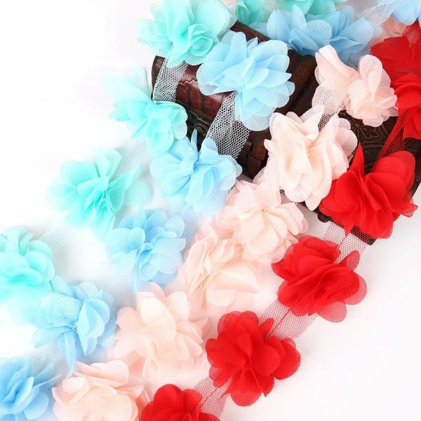 1yard=12pcs Flowers 3D Chiffon Cluster Flowers Lace