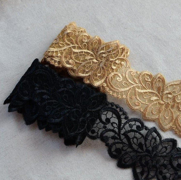 2 Meters Gold Color Embroidered Lace