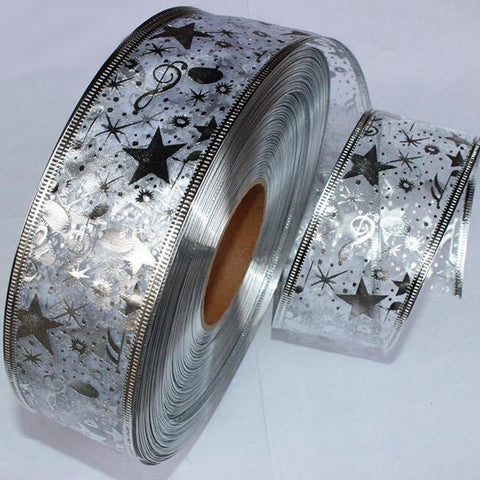 2 Yard Bling Star Printed Organza Ribbon