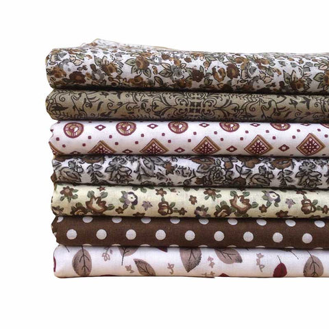"7pcs Cotton Fabric (10"" x 10"") Brown Plain Weave Cloth Bundle"