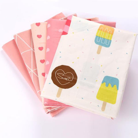 "5pcs Cotton fabric  (16"" x 20"") Ice Cream Collection"