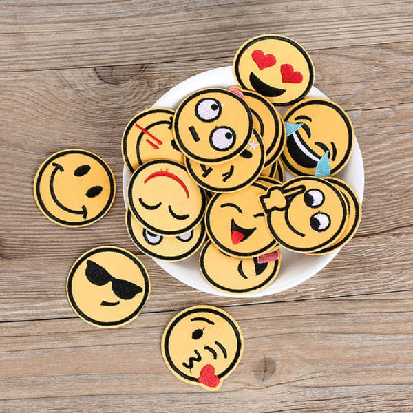 20Pcs  Iron On Patch For Clothing Emoji Embroidery