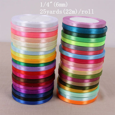 25 Yards Silk Satin Ribbon 1/4""