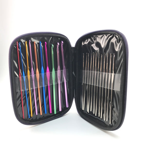 22Pcs Set Multi-colour Aluminum Crochet Hooks Needles