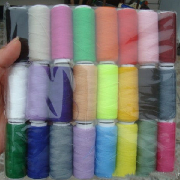 24 Spools of Sewing Threads Assorted Color Polyester 200 Yards