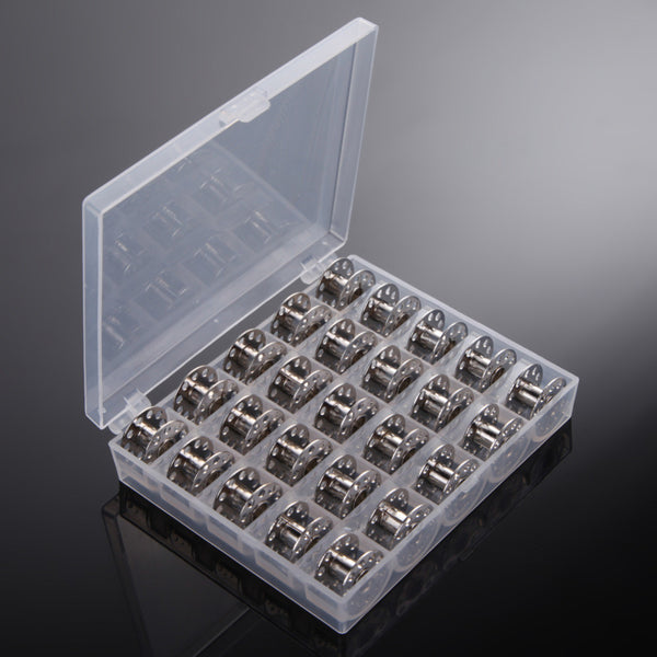 25 Pcs Clear Empty Bobbins Spool Metal with a case