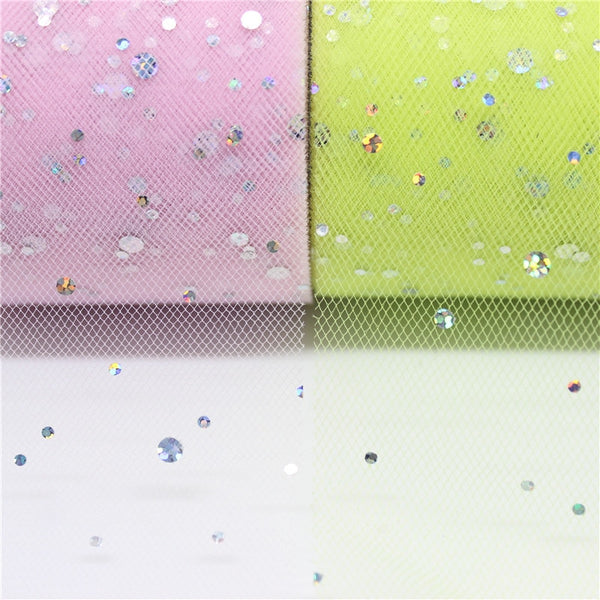 "25 Yards 2.5"" width Glitter Sequin Tulle Roll"