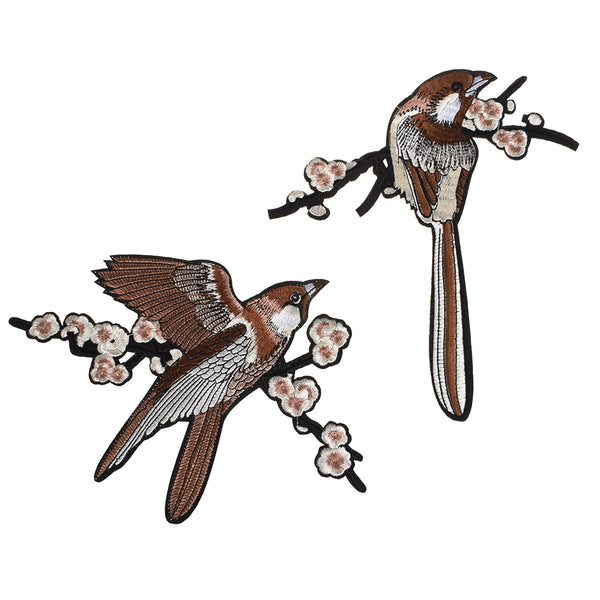 2PCS Flower Bird Magpie Embroidered Patches