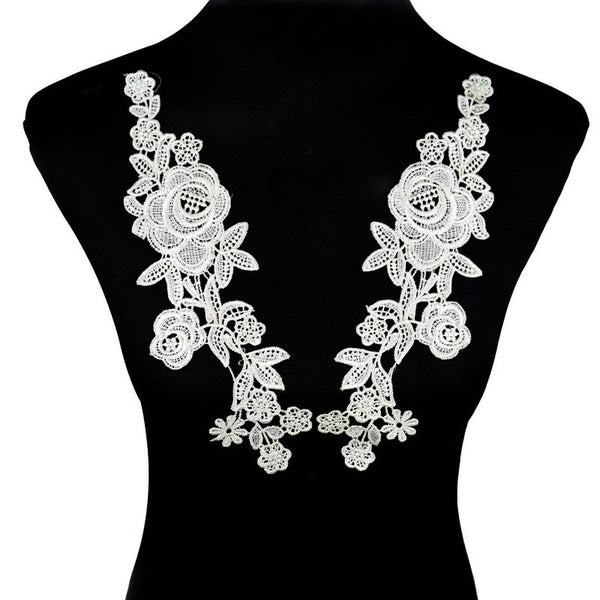 2Pcs Polyester Embroidery Lace Neckline Collar