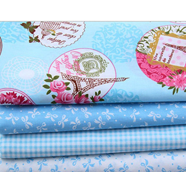 "5 Piece Lot Patchwork Fabric (16""X20"") Blue Collection"