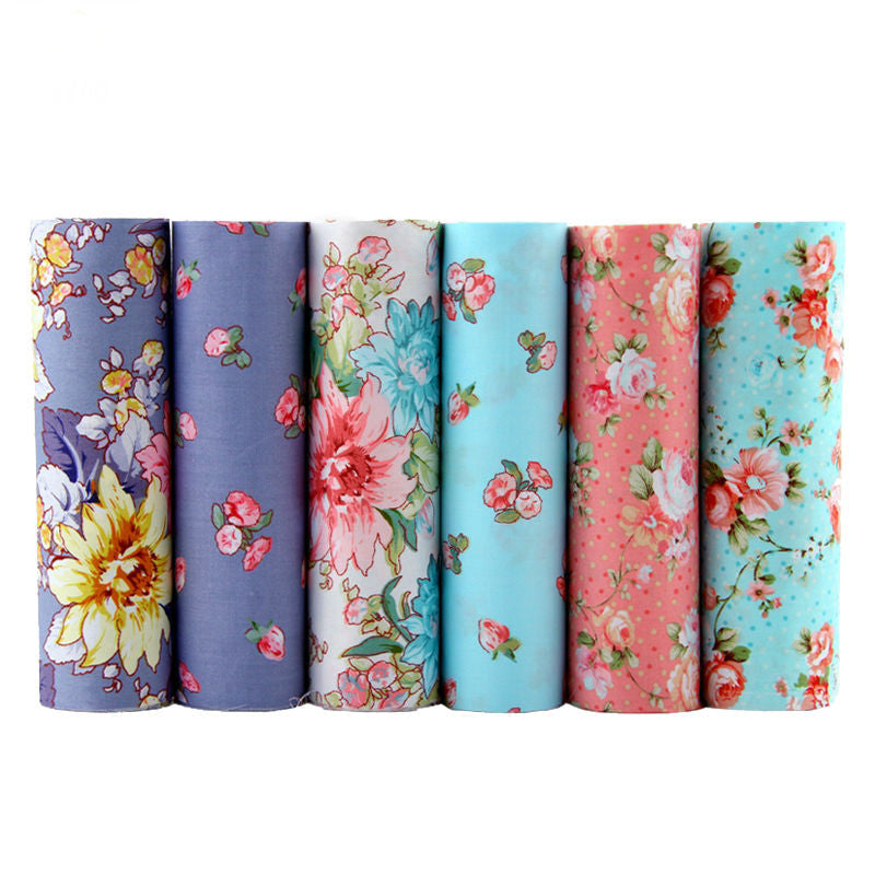 6 Piece Lot Patchwork Fabric (15″ X 20″) Flower Collection